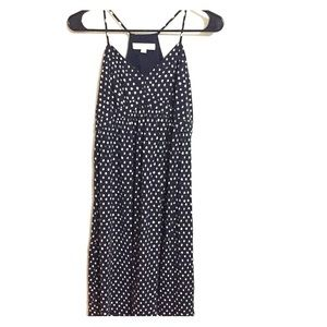 Loft Spaghetti Strap Navy Polka Dot Midi Dress